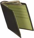 Men's Bifold Wallet with Double Id Flap - Top Grain Nappa Leather - Black and Key Lime Green