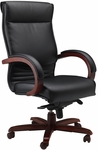 Corsica Black Leather Task Chair - Cherry [CSCRY-FS-MAY]