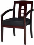 Mercado Ladder Back Guest Chair - Set of 2 - Black Leather with Sierra Cherry [VSC2ABCRY-FS-MAY]