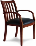 Mercado Slat Back Guest Chair - Set of 2 - Black Leather Seat with Bourbon Cherry [VSC3ABSCR-FS-MAY]
