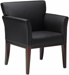 Mercado Reception and Guest Wood Chair - Black Leather with Sierra Cherry [VSC9BCRY-FS-MAY]