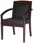 Mercado Solid Back Guest Chair - Set of 2 - Black Leather with Sierra Cherry [VSCABCRY-FS-MAY]
