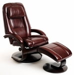 Oslo 2 Pc. Top Grain Leather Swivel Recliner and Ottoman with Adjustable Headrest - Merlot [52-LO3-09-625-FS-MAC]