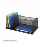 Onyx™ Three Horizontal and Three Upright Sections Mesh Desk Organizer - Black [3254BL-FS-SAF]