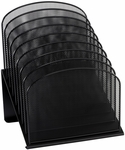 Onyx™ 11.75'' W x 10.75'' D x 14'' H Eight Tiered Sections Mesh Desk Organizer - Black [3258BL-FS-SAF]