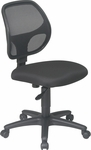 Work Smart Mesh Screen Back Armless Swivel Task Chair with Casters - Black [EM2910-FS-OS]