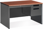 Executive Single Pedestal Panel End Desk with Center Drawer 29.50'' x 47.25'' - Cherry [77348-CHY-MFO]