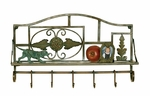Antiqued Bronze Metal 5-Hook 49.5''H Wall Shelf with Storage Display Shelf [2503-FS-PAS]