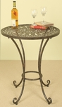 Open Weave Metal Top 25''W x 30''H Accent Table - Bronze [1217-FS-PAS]