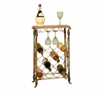 Granita Decorative Scrolled Metal 29.75''H Wine Rack with Granite Top - Black and Bronze [2152-FS-PAS]