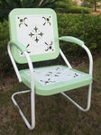 Metal Chair Retro with Vintage Green Trim [71340-FS-DCON]