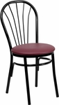 Metal Fan Back Bistro Chair with Burgundy Vinyl Seat [BFDH-706698-BY-TDR]