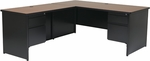 OSP Furniture Metal L-Shape Workstation with Storage Drawers - Black [MLSTYP9L-3-CHY-FS-OS]