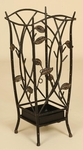 Cut Out Oil Rubbed Metal Leaf 22''H Umbrella Stand with Drip Pan - Bronze [2131-FS-PAS]
