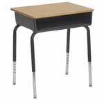 Open Front Metal Storage Box Desk with Oak Finish Top and Nylon Swivel Glides [ELR-24101-ECR]