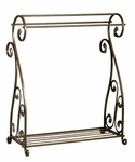 Aged Gold Metal Finish 36''H Quilt Rack with Storage Shelf [2643-FS-PAS]