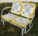 Metal Retro Glider with Yellow Trim [71150-FS-DCON]