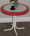 Metal Retro Round Table with Vintage Red Trim [71520-FS-DCON]