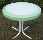 Metal Retro Round Table with Vintage Green Trim [71320-FS-DCON]