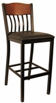 Metal Vertical Slat Back Barstool with Black Vinyl Seat [6181B-HND]