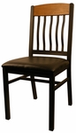 Metal Vertical Slat Back Chair with Black Vinyl Seat [6181-HND]