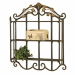 Sophia Two Tone Scrolled Oil Rubbed Metal 28''W x 24''H Wall Shelf - Bronze and Gold [2125-FS-PAS]