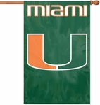 Miami Hurricanes Applique Banner Flag Miami ''U'' [AFMIA-FS-PAI]