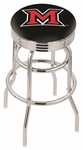 Miami University 25'' Chrome Finish Double Ring Swivel Backless Counter Height Stool with Ribbed Accent Ring [L7C3C25MIA-OH-FS-HOB]