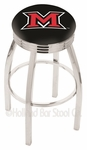 Miami University 25'' Chrome Finish Swivel Backless Counter Height Stool with 2.5'' Ribbed Accent Ring [L8C3C25MIA-OH-FS-HOB]