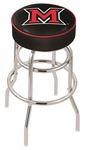 Miami University 25'' Chrome Finish Double Ring Swivel Backless Counter Height Stool with 4'' Thick Seat [L7C125MIA-OH-FS-HOB]