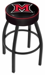 Miami University 25'' Black Wrinkle Finish Swivel Backless Counter Height Stool with 4'' Thick Seat [L8B125MIA-OH-FS-HOB]