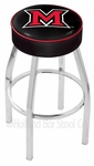 Miami University 25'' Chrome Finish Swivel Backless Counter Height Stool with 4'' Thick Seat [L8C125MIA-OH-FS-HOB]