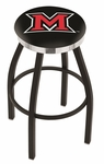 Miami University 25'' Black Wrinkle Finish Swivel Backless Counter Height Stool with Chrome Accent Ring [L8B2C25MIA-OH-FS-HOB]