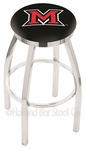 Miami University 25'' Chrome Finish Swivel Backless Counter Height Stool with Accent Ring [L8C2C25MIA-OH-FS-HOB]