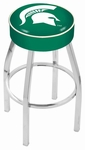Michigan State University 25'' Chrome Finish Swivel Backless Counter Height Stool with 4'' Thick Seat [L8C125MICHST-FS-HOB]