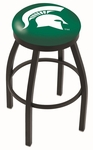 Michigan State University 25'' Black Wrinkle Finish Swivel Backless Counter Height Stool with Accent Ring [L8B2B25MICHST-FS-HOB]