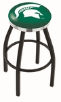 Michigan State University 25'' Black Wrinkle Finish Swivel Backless Counter Height Stool with Chrome Accent Ring [L8B2C25MICHST-FS-HOB]