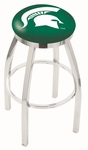 Michigan State University 25'' Chrome Finish Swivel Backless Counter Height Stool with Accent Ring [L8C2C25MICHST-FS-HOB]