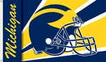 Michigan Wolverines 3' X 5' Flag with Grommets - Helmet Design [95303-FS-BSI]