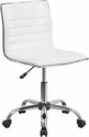 Low Back Armless White Ribbed Designer Swivel Task Chair