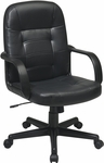Work Smart Mid Back Eco Leather Manager's Office Chair - Black [EC3393-EC3-FS-OS]