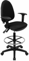 Mid-Back Black Fabric Multi-Functional Drafting Chair with Adjustable Lumbar Support and Height Adjustable Arms