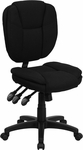 Mid-Back Black Fabric Multi-Functional Ergonomic Swivel Task Chair [GO-930F-BK-GG]