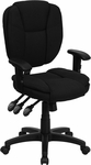 Mid-Back Black Fabric Multi-Functional Ergonomic Swivel Task Chair with Height Adjustable Arms [GO-930F-BK-ARMS-GG]