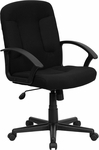 Mid-Back Black Fabric Executive Swivel Office Chair with Nylon Arms [GO-ST-6-BK-GG]