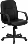 Mid-Back Black Glove Vinyl Executive Swivel Office Chair [H8020-GG]