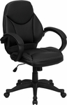 Mid-Back Black Leather Contemporary Executive Swivel Office Chair [H-HLC-0005-MID-1B-GG]