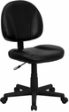 Mid-Back Black Leather Ergonomic Task Chair