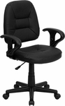 Mid-Back Black Leather Ergonomic Swivel Task Chair with Height Adjustable Arms [BT-682-BK-GG]