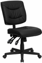 Mid-Back Black Leather Multi-Functional Swivel Task Chair